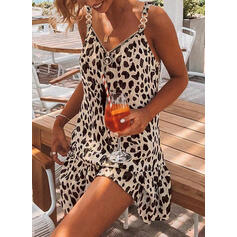 Leopard Sleeveless Shift Above Knee Casual/Vacation Dresses