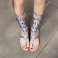 Femmes Similicuir Talon plat Sandales Chaussures plates À bout ouvert Escarpins avec Strass Boucle Ouvertes chaussures