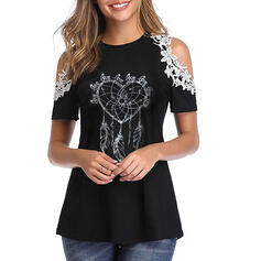 Print Patchwork Lace Round Neck Short Sleeves Casual T-shirts