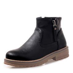 Women's Leatherette Flat Heel Platform Boots Ankle Boots shoes
