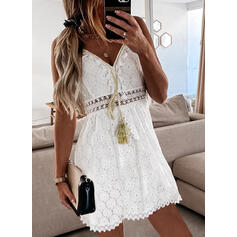 Solid Lace Sleeveless A-line Above Knee Casual Slip/Skater Dresses