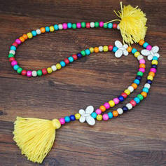 Fashionable Stylish Classic Wooden Beads With Tassels Women's Necklaces