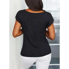Solid Sequins Square Collar Short Sleeves Casual Blouses