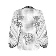 Print V-Neck Lantern Sleeve Long Sleeves Casual Blouses