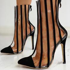 Women's Suede PVC Stiletto Heel Pumps With Zipper shoes