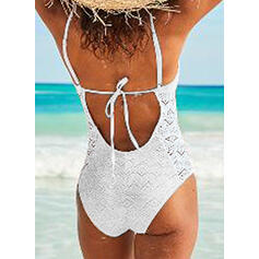 Solid Color Mesh Strap V-Neck Sexy Attractive One-piece Swimsuits