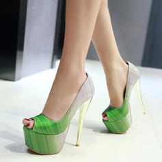 Donna Similpelle Tacco a spillo Piattaforma Punta aperta scarpe