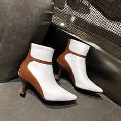 Women's Leatherette Stiletto Heel Ankle Boots With Zipper shoes