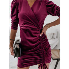 Jednolity Długie rękawy shim sleeve Pokrowiec Nad kolana Nieformalny Sukienki