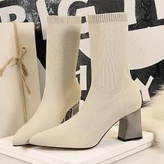 Femmes Mesh Talon bottier Escarpins Bout fermé Bottes Bottes mi-mollets avec Dentelle Talon cristal chaussures