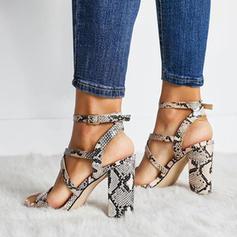 Mulheres PU Salto robusto Sandálias Bombas Peep toe com Fivela Animal da Cópia sapatos