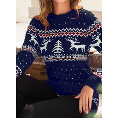 Γυναικεια Πολυεστέρας Τυπώνω Τάρανδος Άσχημο πουλόβερ Χριστουγέννων
