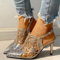 Women's PU Stiletto Heel Pumps With Rhinestone Buckle shoes