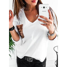 Solid Sequins V-Neck Long Sleeves Casual Knit T-shirt