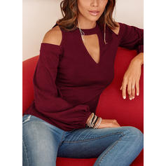 Solid Cold Shoulder Long Sleeves Casual Elegant Knit Blouses