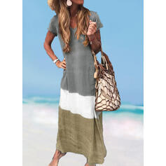 Splice color V-Neck Fresh Plus Size Boho Cover-ups Swimsuits