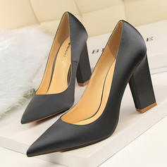 Vrouwen Satijn Chunky Heel Pumps Closed Toe schoenen