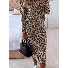 Leopard Long Sleeves Bodycon Pencil Elegant Midi Dresses