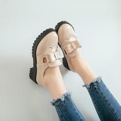 Femmes PU Talon bas Chaussures plates Bout fermé avec Bowknot chaussures