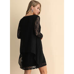Lace/Solid Long Sleeves Shift Above Knee Little Black/Sexy/Party/Elegant Dresses