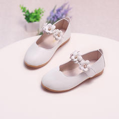 Girl's Leatherette Flat Heel Closed Toe Flower Girl Shoes With Velcro Flower