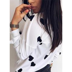 Print Lapel Long Sleeves Casual Elegant Knit Shirt Blouses