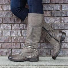 Női PU Alacsony sarok Térdig érő csizmák -Val Cipzár cipő