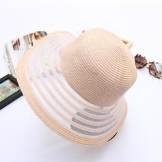 Senhoras Elegante Ráfia de palha De disquetes Chapéu