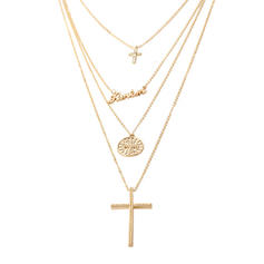 Cross Alloy Rhinestones With Rhinestone Women's Necklaces (Sold in a single piece)