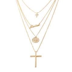 Croix Alliage Strass avec Strass Femmes Colliers (Vendu dans une seule pièce)