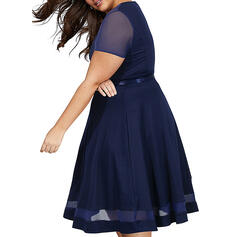 Solid Short Sleeves A-line Knee Length Casual/Plus Size Dresses