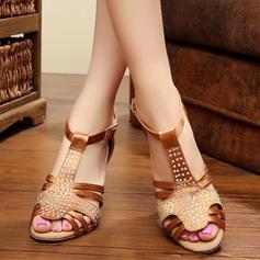 Women's Latin Sandals Pumps Satin With Rhinestone Latin