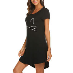 U-Neck Short Sleeves Print Casual Night Dress