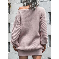 Solid Round Neck Sexy Sweater Dress