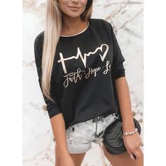 Impresión Corazón Cuello redondo Manga Larga Casual Camisetas