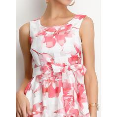 Nadrukowana/Kwiatowy Bez rękawów W kształcie litery A Midi Casual/Elegancki Sukienki