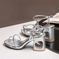 Frauen Kunstleder Stämmiger Absatz Sandalen Absatzschuhe mit Pailletten Schuhe