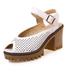 Femmes PU Talon bottier Sandales À bout ouvert avec Boucle Ouvertes chaussures