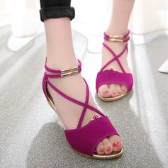 De mujer PU Tipo de tacón Sandalias Cuñas Encaje con Cremallera zapatos