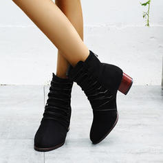 Women's Suede Chunky Heel Boots Mid-Calf Boots With Zipper Lace-up shoes
