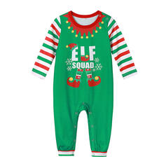 Letter Striped Family Matching Christmas Pajamas