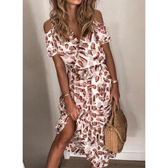 Print Short Sleeves/Cold Shoulder Sleeve A-line Skater Casual/Vacation Midi Dresses