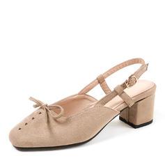 Donna Camoscio Tacco spesso Sandalo Stiletto con Fibbia scarpe