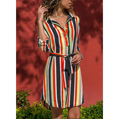 Striped 3/4 Sleeves A-line Knee Length Casual Dresses