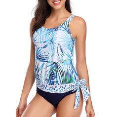Floral Blouson Knotted Strap U-Neck Elegant Plus Size Tankinis Swimsuits