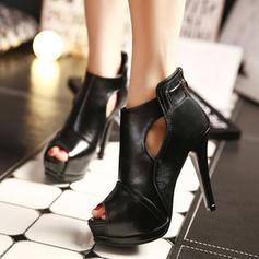 Kvinder PU Stiletto Hæl sandaler Pumps Kigge Tå med Lynlås sko