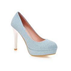 Frauen Funkelnde Glitzer Stöckel Absatz Absatzschuhe Geschlossene Zehe Schuhe