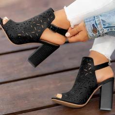 Femmes PU Talon bottier À bout ouvert avec Boucle chaussures