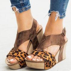Femmes PU Talon compensé Sandales À bout ouvert Talons avec Velcro chaussures