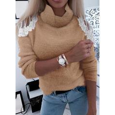 Einfarbig Spitze Rollkragen Freizeit Pullover